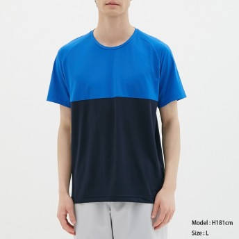 (GU)クルーネックT(半袖)(カラーブロック)GS BLUE S