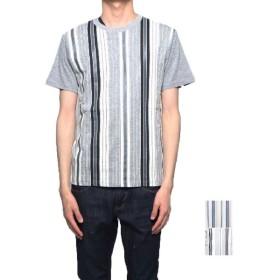 Tシャツ - Style Block MEN Tシャツ カットソー 半袖 クルーネック 丸首 ストライプ柄 綿 コットン100% トップス メンズ 杢グレー ホワイト 夏先行