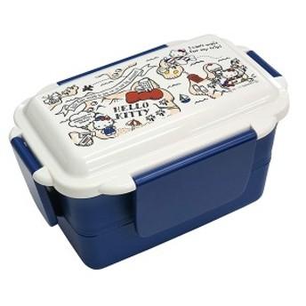 お弁当箱 幼稚園 女の子 ハローキティ 4点ロック式 2段(仕切付) ブルー 【bx112942】