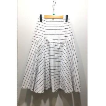 経堂) Drawer ドゥロワー ミモレ丈 ストライプフレアスカート サイズ38 ホワイト