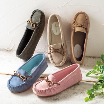 【格安-女性靴】(ラクモカ)レディースソフトクッション入りモカシンカジュアルシューズ