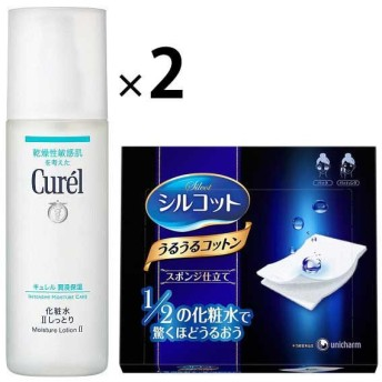 Curel(キュレル) 化粧水2(しっとり) 150mL 花王 ×2個 +シルコットうるうるスポンジ仕立て 1箱 (40枚入)