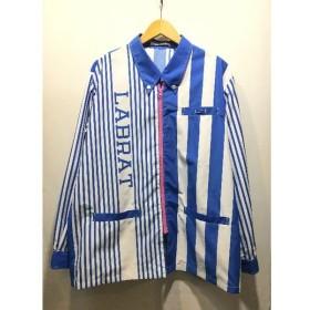 経堂) ラブラット LABRAT ローソン アロハシャツ サイズL ストライプ トップス メンズ ブルー ホワイト