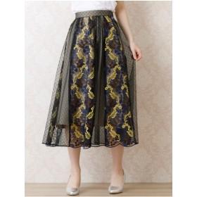 【大きいサイズレディース】【L-LL展開】チュール刺繍フレアスカート スカート フレアスカート