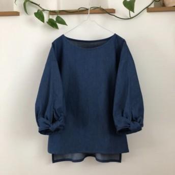 柔らかデニムバルーンカフスリボン袖のプルオーバーブルー