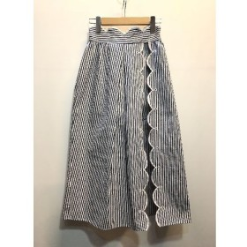 代官山) アリスマッコール alice McCALL ストライプレイヤードスカート 34 白 紺 コットン