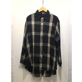 経堂) Y's ワイズ フォーメン チェック ロングシャツ サイズ3 メンズ ブラック グリーン ヨウジヤマモト