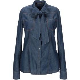 《送料無料》MANGANO レディース デニムシャツ ブルー 38 コットン 98% / ゴム 2% / ポリエチレン / レーヨン / ポリウレタン