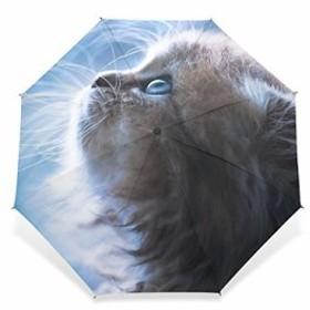 USAKI(ユサキ) 猫の日 かわいい 動物 面白い 猫柄 ネコ キャット い ブルー折りたたみ傘 3段 晴雨兼用 耐風 日傘 雨傘 手動開閉 携帯