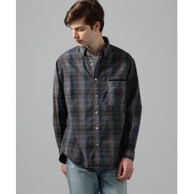 トゥモローランド チェックオーバーダイ ボタンダウンシャツ メンズ 68ネイビー系 XS 【TOMORROWLAND】