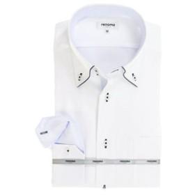 【TAKA-Q:トップス】アイスカプセル形態安定レギュラーフィット ドゥエボットーニボタンダウン7分袖ビジネスドレスシャツ/ワイシャツ