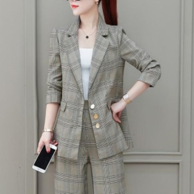 パンツドレス 長袖 大きいサイズ パンツスーツ ワイドレッグパンツ セットアップ ツーピース ビジネス オフィス グレンチェック 卒業式