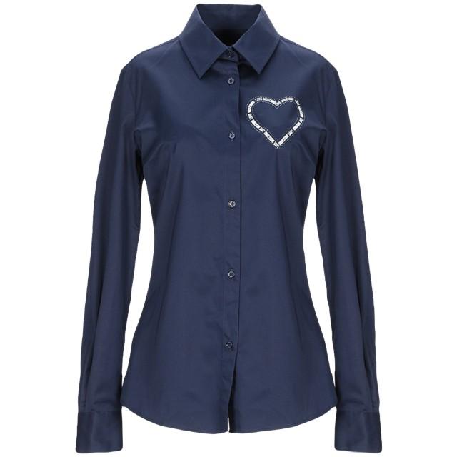 《セール開催中》LOVE MOSCHINO レディース シャツ ダークブルー 38 コットン 97% / ポリウレタン 3%