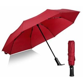折りたたみ傘 軽量 丈夫な8本骨 Teflon超撥水 コンパクト日傘 晴雨兼用 自動開閉 おりたたみ傘 傘カバー付き (赤い)