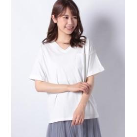 (DAISY MERRY/デイジーメリー)天竺ポケ付VネックTシャツ/レディース オフホワイト