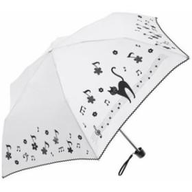 ミクニ 折りたたみ傘 手開き 日傘/晴雨兼用傘 遮光 遮熱 花 音符 キャット 全3色 オフ ホワイト 6本骨 50cm UVカット 97%以上 シル