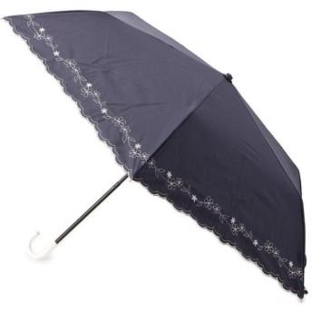 グローブ 晴雨兼用フラワー刺しゅう折りたたみパラソル レディース ネイビー(093) 00 【grove】