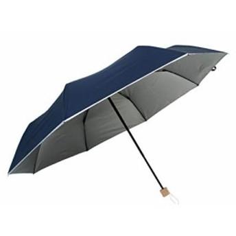 直径123cm! 晴雨兼用 ビッグサイズミニ傘ひっくり返っても元通り丈夫な耐風骨×シルバー生地 日傘 軽量70cm折りたたみミニ傘 (表紺/