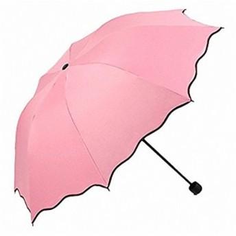 Bidason 晴雨兼用傘 レディース 日傘 雨に濡れると桜柄が浮き出る傘 浮き桜 雨傘 紫外線対策 撥水加工 折りたたみ傘 軽量 花柄 浮き上が