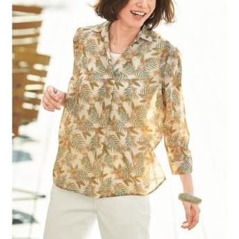 50%OFF【レディース】 プリントスキッパーシャツ(8分袖) ■カラー:ベージュ ■サイズ:3L,LL