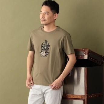 SALE【ザ・スコッチハウス(THE SCOTCH HOUSE)】 【180周年記念商品】オーガニックコットン使用クレスト刺繍Tシャツ ベージュ