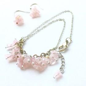 debris bracelet & pierces set -pink * 桃色星屑のブレスレット、ピアス