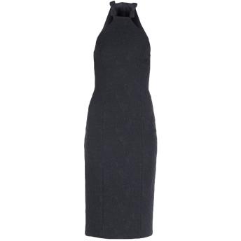 《9/20まで! 限定セール開催中》MICHAEL KORS COLLECTION レディース 7分丈ワンピース・ドレス ブラック 2 ポリエステル 64% / シルク 20% / コットン 15% / ポリウレタン 1%