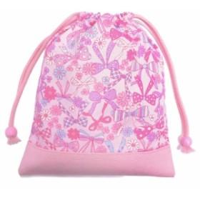 巾着袋・中 マチ無し給食袋 リボン・デイドリーム × 帆布・ピンク N7071100