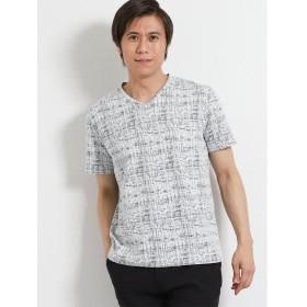 タカキュー DRY かすれチェックVネック半袖Tシャツ メンズ ブラック XL 【TAKA-Q】