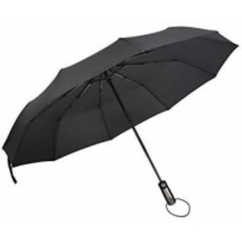 ATLI 折りたたみ傘 ワンタッチ自動開閉 10本骨 高強度 晴雨兼用 撥水性 軽量 男女兼用 (ブラック)