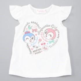 女の子ハートロゴ柄フレンチスリーブシャツ【ベビー・子供服】