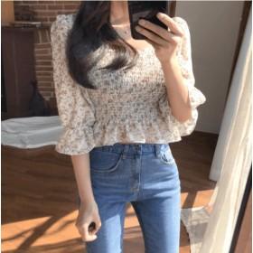 <即納>【クーポン適用でさらにお得に】 韓国ファッション レディース おしゃれ シンプル レトロ プリント シフォン シャツ トップス ブラウス 2種類から選べる FREE SIZE