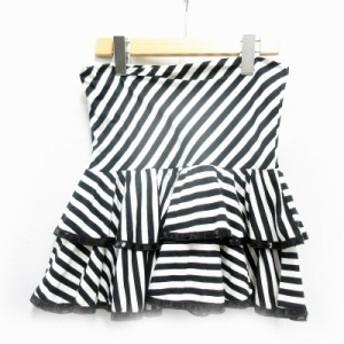 【中古】ハニーバンチ Honey Bunch スカート フレア ミニ ティアード レーヨン混 ストレッチ ストライプ 白 /SH レディース