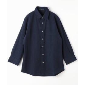 グランドパーク 8分袖サッカーシャツ メンズ 67ネイビー 46(M) 【Grand PARK】