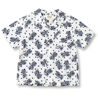 【40%OFF】 ブランシェス パイナップル柄オープンカラー半袖シャツ(90~140cm) レディース オフホワイト 130cm 【branshes】 【セール開催中】