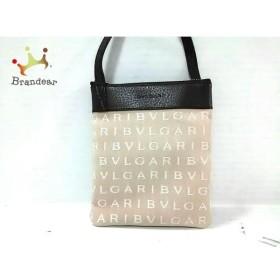 ブルガリ BVLGARI ショルダーバッグ 美品 ロゴマニア ベージュ×白×ダークブラウン ミニ 新着 20190512