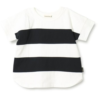 【50%OFF】 ブランシェス ワイドボーダー切替半袖Tシャツ(90~150cm) メンズ オフホワイト 100cm 【branshes】 【セール開催中】