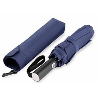 Fulfine 折りたたみ傘 ワンタッチで自動開閉 強風対応 撥水テフロンコーティング 小型 軽量 耐久 機能性 通勤 旅行携帯便利 (紺)