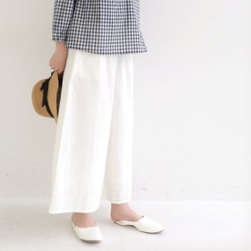 オンオフどっちも使える 裾刺しゅうワイドパンツ フェリシモ FELISSIMO【送料:450円+税】