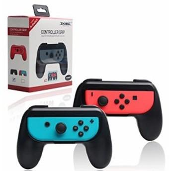 DOBE Nintendo Switch Joy-Conハンドル ニンテンドー スイッチ コントローラー グリップ型 ブラック(2個セット)