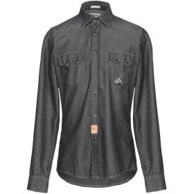 《期間限定セール開催中!》RO ROGER'S メンズ デニムシャツ ブラック L コットン 100%