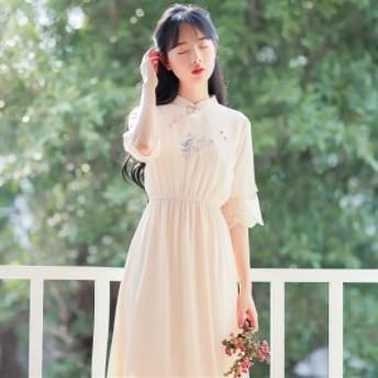 きれいめ チャイナ風ドレス チャイナ服 シースルー シフォン ワンピ 刺繍 レース 七分袖 チャイナ風ワンピース 春夏 タンクワンピ 夏服