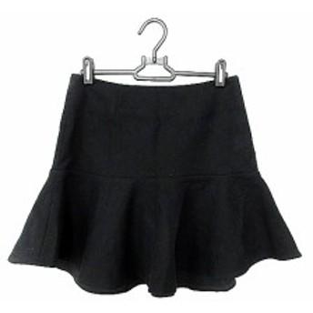 【中古】ミューズ ドゥーズィエムクラス スカート ミニ フレア カシミヤ混 36 黒 ブラック /AAO33 レディース