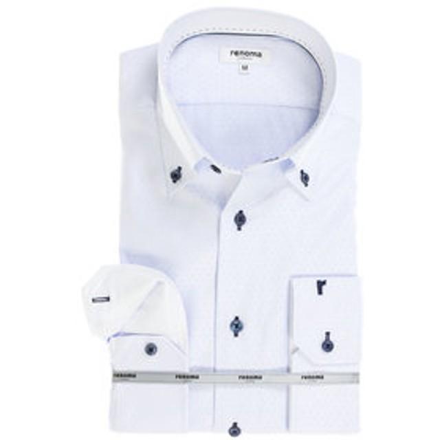 【TAKA-Q:トップス】アイスカプセル形態安定レギュラーフィット ボタンダウン7分袖ビジネスドレスシャツ/ワイシャツ
