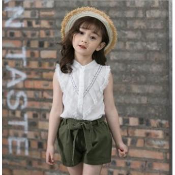 キッズシャツ 子供服 女の子 100%綿 シャツ ブラウス ノースリーブ レースフリルシャツ 二点送料無料 夏物 可愛い 子供シャツ 110 120 13
