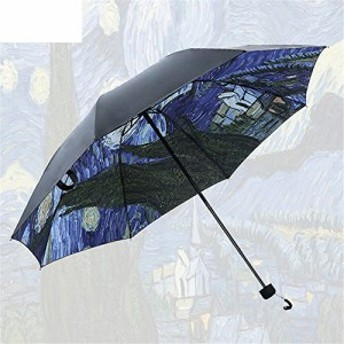 Simple+ 折り畳み傘 ワンタッチ自動開閉 本骨 115cm 耐風撥水 晴雨兼用 軽量楽々 収納ポーチ付き ゴッホ 星空