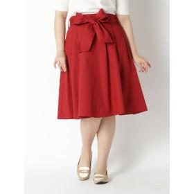 【大きいサイズレディース】【LL-6L展開】スキスカミディスカート<19夏新作> スカート 膝丈スカート