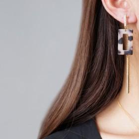 【Marble】Non Pierced Earrings, Glass Long Bar -002-[ノンホールピアス]