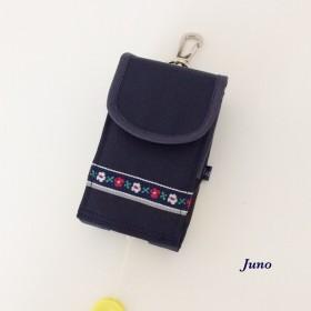 キッズ携帯ケースナイロン生地紺色お花テープ反射