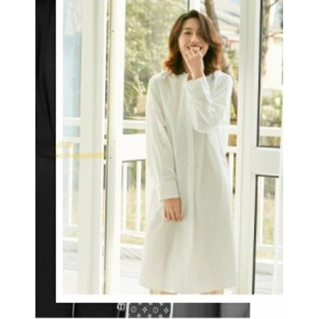 シャツワンピース ロング レディース チュニックワンピース 大きいサイズ 40 ゆったり 体型カバー ロングシャツ カジュアル ロングワンピ